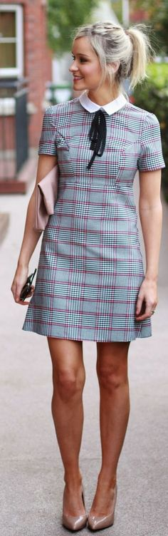 So cute! Would love this knee-length! Gray Multi Check Shift Mini Dress