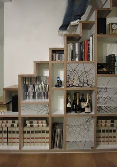 Under Stairs Closet Storage Ideas : Under Stairs Closet Storage Ideas Awesome Open Shelves For Dvd Wine And Books Pics . closet,ideas,storage,under stairs Stair Shelves, Staircase Storage, Stair Storage, Stairs With Storage, Staircase Ideas, Space Under Stairs, Loft Stairs, Basement Stairs, Open Stairs