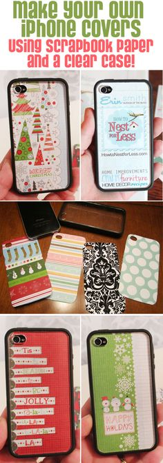 change out your iphone cover whenever you want with scrapbook paper and a clear iphone case! so smart!