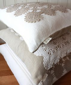 Linen and Lace Pillow Covers by tuuni, via Flickr