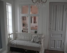 I'm really liking the interior window thing Interior Windows, Half Walls, Swedish House, Best Interior Design, My Dream Home, Dining Bench, Ikea, Entryway, Furniture