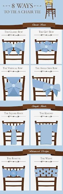 Sherwood Event Gall found this Chart of the different ways to make Chair Ties.  #atlanta #catering #eventsbygia #atlantabridal #quinceanera #eventstyling #bridalshower #weddingplanning #eventcompany #corporateevent #sherwoodeventhall #wedding #atlantawedding #atlantacatering #foodideas #cateringideas #weddingideas #catering #atlantavenues #partyideas #partyfood #cateringdisplay #sweet16 #wedding #chairties #quinceanera #barmitzvah