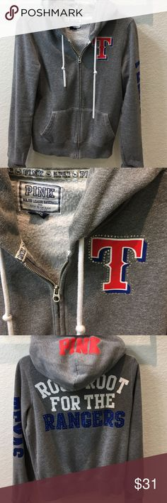 Victoria's Secret Pink Texas Rangers hoodie Victoria's Secret, Texas Rangers zip up hoodie. A couple of small marks. In good condition. Size Medium. Make an offer. PINK Victoria's Secret Jackets & Coats