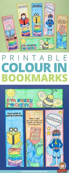 Super cute set of reading themed colour-in bookmarks from Kate Hadfield Designs! Print off this free download and have your kids colour them to create their own personalised bookmarks! You could stick two together for a double sided bookmark and laminate for extra durability! This is a lovely reading craft for kids that's perfect for early finishers. via @kate_hadfield