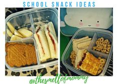 🍱Two days school snack ideas with strawberry jam,🍓one pear🍐 and two cinnamon biscuits🍪 toast with cheese cream and chicken,🥪half a piece of waffle with strawberry jam🍓 and some cereal rings with honey🍯 Cinnamon Biscuits, Strawberry Jam, School Snacks, Pear, Waffles, Cereal, Lunch Box, Toast, Honey