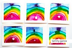 Rainbow landscape by Tammy Garcia. https://daisyyellowart.com #inktober #rainbow #indiaink #drphmartins #abstractart