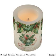 Nostalgic Christmas Bells and Holly Flameless Candle