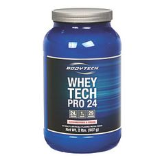 Whey Tech Pro 24 protein fuels your body with 24 grams of high quality protein per serving. protein is important for muscle synthesis, weight management and improved recovery and athletic performance. protein provides you with the building blocks needed to develop metabolically active lean muscle tissue, as well as BCAA's which aid in muscle recovery and growth.