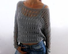 """* Too bad there's no pattern for this, it's lovely """"Cotton Summer Cropped Sweater Shrug in Ivory color, hand knitted, ecofriendly, Loose knit cropped s Gilet Crochet, Crochet Blouse, Knit Crochet, Lace Knitting Patterns, Crochet Stitches, Hand Knitting, Handgestrickte Pullover, Summer Knitting, How To Purl Knit"""