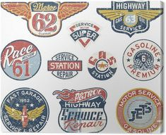 Vintage Graphic Design Gasoline station vintage vector badges Canvas Print - Destinations - Gasoline station vintage vector badges Canvas Print ✓ Easy Installation ✓ 365 Day Money Back Guarantee ✓ Browse other patterns from this collection! Vintage Logo, Vintage Graphic Design, Vintage Fur, Vintage Labels, Vintage Signs, Schrift Design, Woodworking Logo, Youtube Woodworking, Woodworking Classes