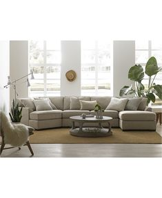 Carena Fabric Sectional with Cuddler Chaise, Created for Macy's - Sectional Sofas - Furniture - Macy's Cuddler Sectional, Sectional Sofa With Chaise, Fabric Sectional, Living Room Sectional, Couches, Family Room With Sectional, Sofa Bed, Macys Sectional, Ashley Sectional