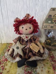 "13"" Primitive Raggedy Ann doll Americana dress star ornie stitched face tag OOAK #NaivePrimitive"