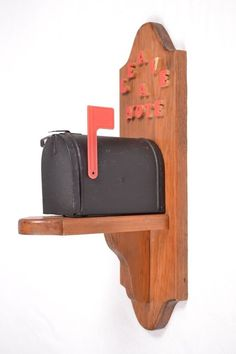 Vintage Wooden Leave A Note Mailbox Wall Mount Working Flag Home Decor