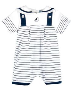 Baby boys are sure to be completely adorable in this stripe nautical romper.  A cotton knit romper for baby boys features nautical detail with sailor stripes, anchor buttons, nautical collar and embroidered sailboat.  Available for newborn boys this striped nautical romper will be a great choice for first baby photos or as a cute take home outfit for your newborn boy.