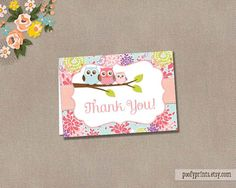 Baby Girl Owl Thank You Note - INSTANT DOWNLOAD - Suzie Collection