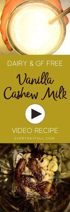 DAIRY-FREE VANILLA C  DAIRY-FREE VANILLA CASHEW MILK VIDEO RECIPE - Watch this quick and easy tutorial to make delicious homemade cashew milk.  #dairyfree   #glutenfree   #nutmilk  https://www.pinterest.com/pin/111675265743475340/