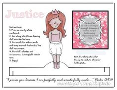 Instant Download, Printable Paper Doll, Sweet Wholesome, Modest,Justice, Redhead, Fearfully and Wonderfully Made