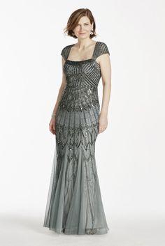 David's Bridal Long Beaded Cap Sleeve Dress Style 061893760 #DavidsBridal #MotheroftheBrideDresses