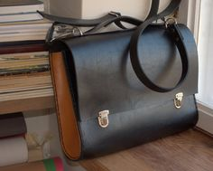 My books & notebooks would be so happy inside this.> Leather briefcase black brown natural leather satchel by SleeWay, $199.00