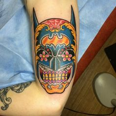 Batman Sugar Skull: Micah Harold, Shreveport LA, Red Handed Tattoo