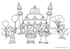 Eid coloring page with masjid