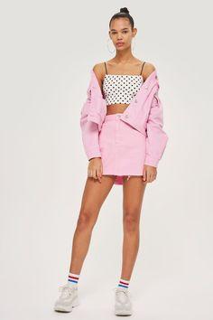 Bubblegum Pink Denim High Waisted Skirt - Skirts - Clothing - Topshop