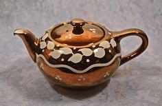 Copper Lustre Teapot, Lancaster Ltd Hanley England, Teapot, Small Teapot Tea Tins, Leaf Design, Lancaster, Luster, 1940s, Teapots, Handmade Items, My Etsy Shop, Copper