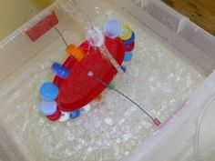 water wheel for the water table from lids: preschool sensory table