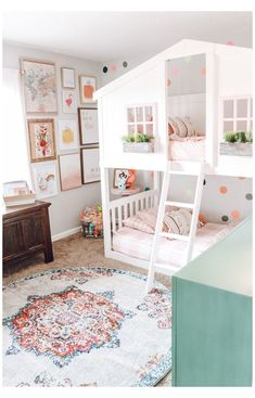 Cece's Big Girl Bedroom #kids #bedroom #rugs #for #girls #kidsbedroomrugsforgirls Check out Cece's big girl bedroom upgrade. I wanted to create a space that I would have loved as a child and these house bunk beds are perfect Bunk Beds For Girls Room, Big Girl Bedrooms, Bunk Bed Rooms, Little Girl Rooms, Bunk Beds For Toddlers, Toddler Girl Bedrooms, Colorful Girls Room, Toddler Bedroom Ideas, Kids Bedroom Ideas For Girls Toddler