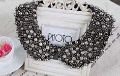 Negro de la moda de diamantes de imitación de cuentas cuello de peter pan falso collar de gargantilla collar