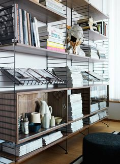 The String magazine shelf is perfect for displaying your favourite magazines and books and compatible with 30 cm wide String System side and floor panels. String System is a flexible shelving system that Swedish architect Nils Strinning designed in House Design, House Interior, Furniture, Home, Interior, Scandinavian Bookshelves, Home Furniture, Home Deco, Shelving