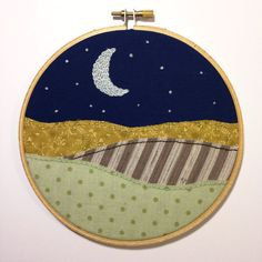 Crescent Moon & Stars Hill Scene  hand by TheBeefyChicken on Etsy