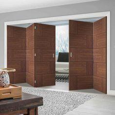 Thrufold Ravenna Walnut Flush 3+2 Folding Door - Prefinished - Lifestyle Image.    #flushfoldingdoors #walnutfoldingdoors