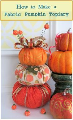 Fall will soon be here and one of my favorite ways to decorate is with fabric pumpkins! Fabric pumpkins are an easy, multi-use decoration for Halloween and Thanksgiving. These pumpkins can be purchased in a number of colors and designs, but can be expensive to buy. However, you can easily make them yourself, then embellish them and use them to create your own stacked pumpkin topiary.Materials and Tools Pumpkin Topiary, Pumpkin Candles, Diy Pumpkin, Pumpkin Crafts, Cute Pumpkin, Fall Crafts, Diy Crafts, Holiday Crafts, Glue Crafts