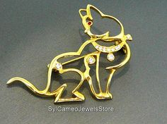 Cat Vintage Brooch Pin Cut Out Gold Plated Design with Clear