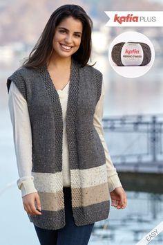 Katia Plus: knit patterns for sizes 16 to 26 – Knitting patterns, knitting designs, knitting for beginners. Knit Cardigan Pattern, Crochet Vest Pattern, Tunic Pattern, Easy Knitting, Baby Knitting Patterns, Knitting Designs, Crochet Patterns, Knitting Dolls Clothes, Knit Fashion