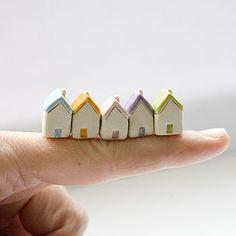 Miniature clay houses five ceramic porcelain tiny house Summer garden figurines. via Etsy. Fimo Clay, Polymer Clay Projects, Polymer Clay Charms, Polymer Clay Creations, Clay Crafts, Clay Houses, Ceramic Houses, Miniature Houses, Art Houses