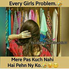 No that's not true coz we girl says pas kuch dhang ka nhi he pehnne ko Crazy Girl Quotes, Funny Girl Quotes, Cute Love Quotes, Jokes Quotes, Memes, Girly Attitude Quotes, Girly Quotes, Girly Facts, School Jokes