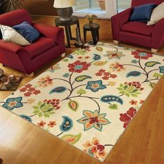 Orian Rugs Floral Garden Chintz Ivory Area Rug (5'2