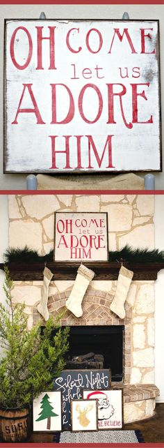 Oh Come Let Us Adore Him Christmas sign, red and white Christmas sign, Rustic Christmas decor, Rustic decor, Christmas sign, Vintage style Christmas decor, Christmas wall decor, Christmas wall art #ad