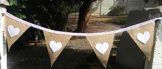 Hessian & White felt hearts
