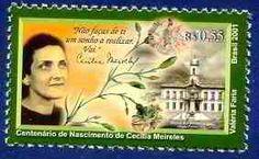 Mulheres nos selos/Mujeres en los sellos - poetisa Cecília Meirelles