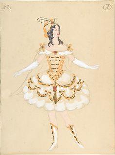 Mstislav Dobuzhinsky (Russian, 1875–1957). Costume design for Female Dancer (recto); Stage set (verso), late 19th–mid-20th century. The Metropolitan Museum of Art, New York. Gift of Nikita D. Lobanov, 1969 (69.538.3) #halloween #costume