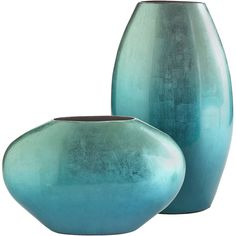 Turquoise Metallic Oval Vases ($50) ❤ liked on Polyvore featuring home, home decor, vases, decor, fillers, turquoise, metallic vase, oval vase, turquoise home decor and modern vase