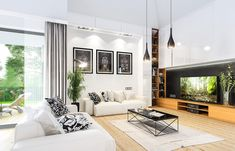 Projekt domu Parterowy- 118.23m2 - koszt budowy 184 tys. zł Deck Design, Planer, Bungalow, House Plans, Flat Screen, How To Plan, Home Decor, Templates, Houses