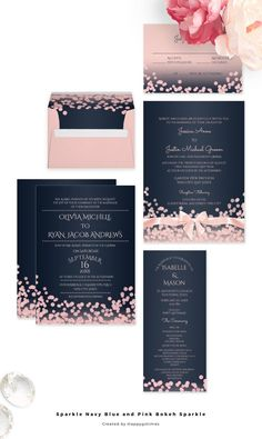 Navy blue and pink modern wedding invitations with bokeh inspired sparkle effect design.