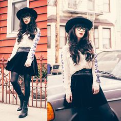 Http://Shopcecillee.Com/Collections/Tops/Products/Blue Magic Top Blouse, Velvet Skirt, Jeffrey Campbell Boots, Ray Ban Glasses - RIDIN' IN M...