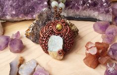Celtic Pendant Polymer Clay Necklace Turquoise Citrine by Claneral