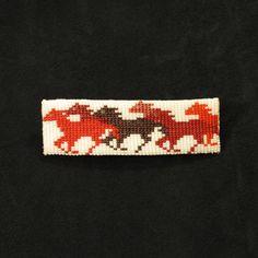 Red Horse Beaded Barrette Native American Handmade