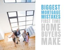 A creative template for First-time buyers post. A modern background image of a realtor showcasing a new home. A grey textbox also displays 'Biggest mortgage mistakes' in blue.